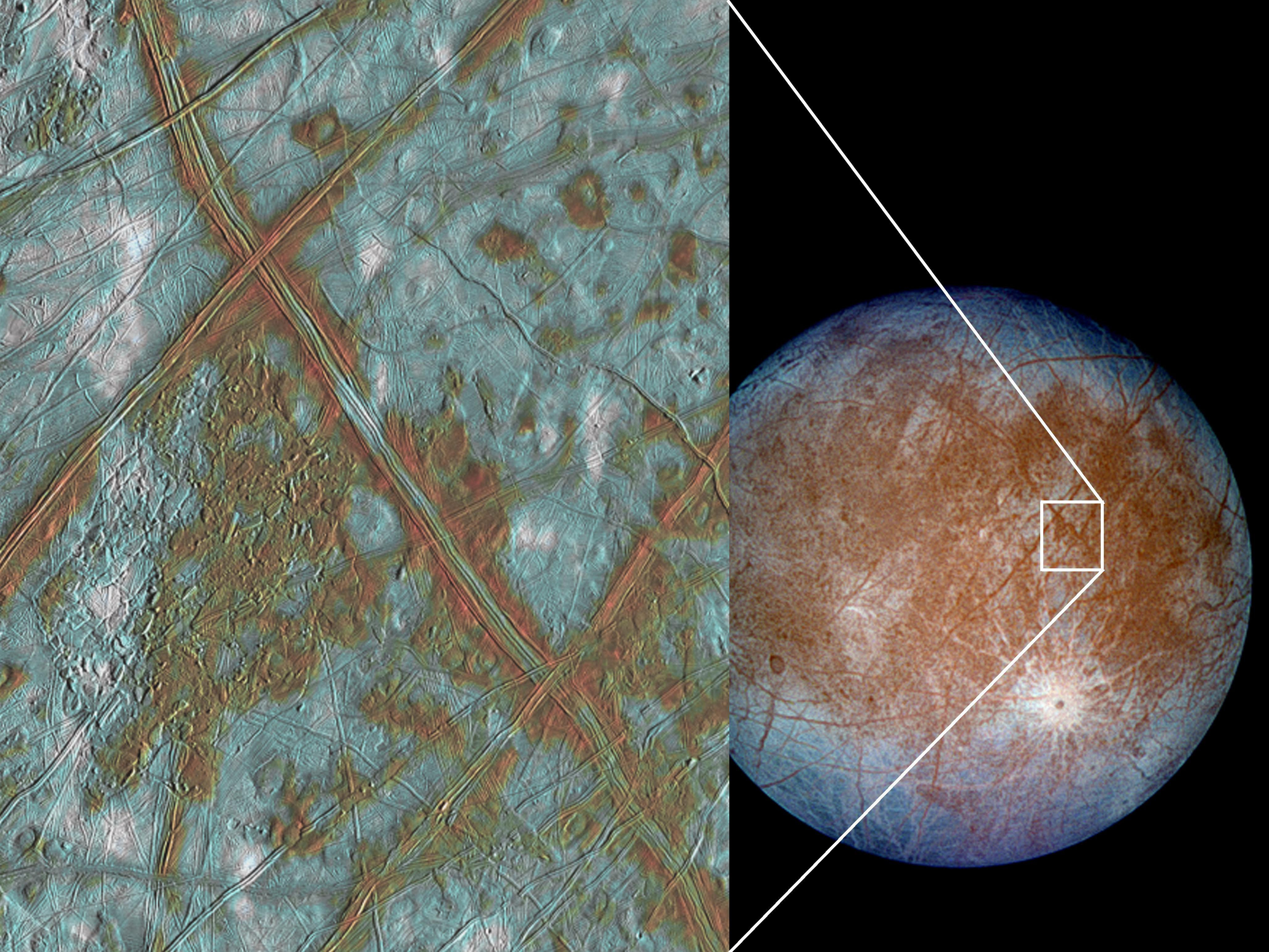 Color image of Europa showing a close of view of blocky terrain on the surface.