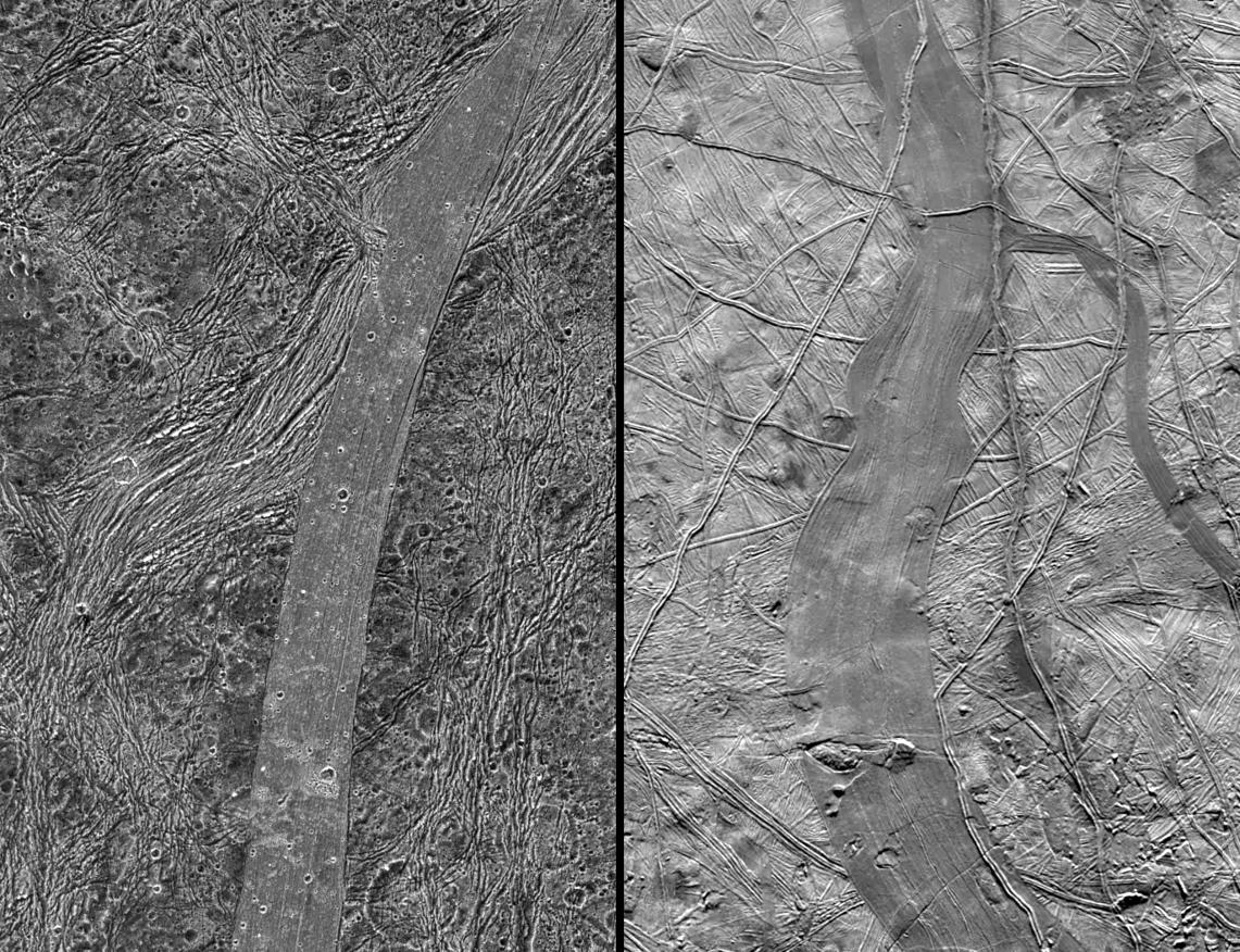 Bands on Europa and bands on Ganymede