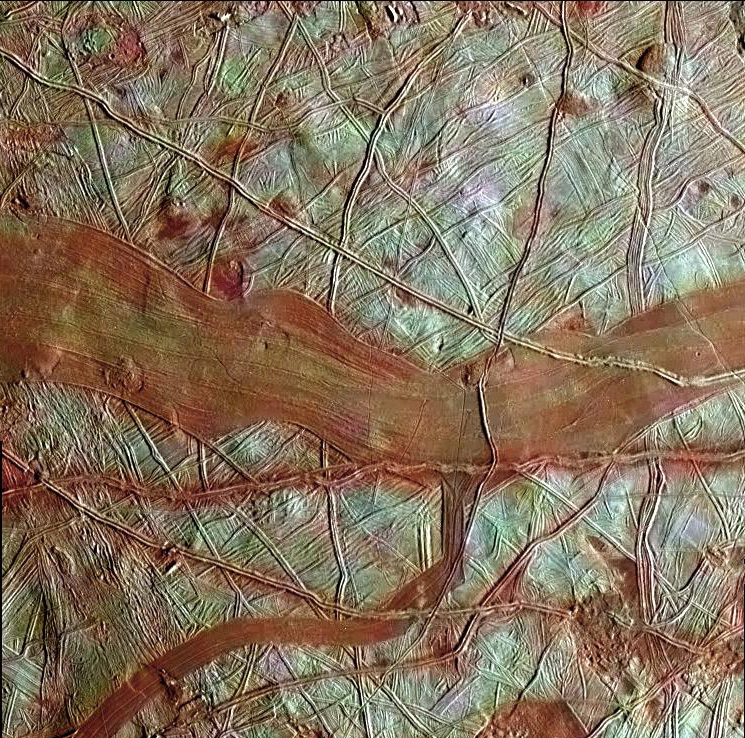Reddish bands on Europa.