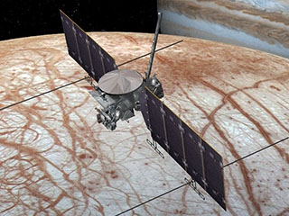 Artist's concept of Europa Clipper at Europa