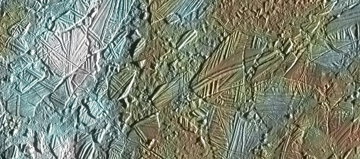 Color image of Europa's rugged, icy surface from above.
