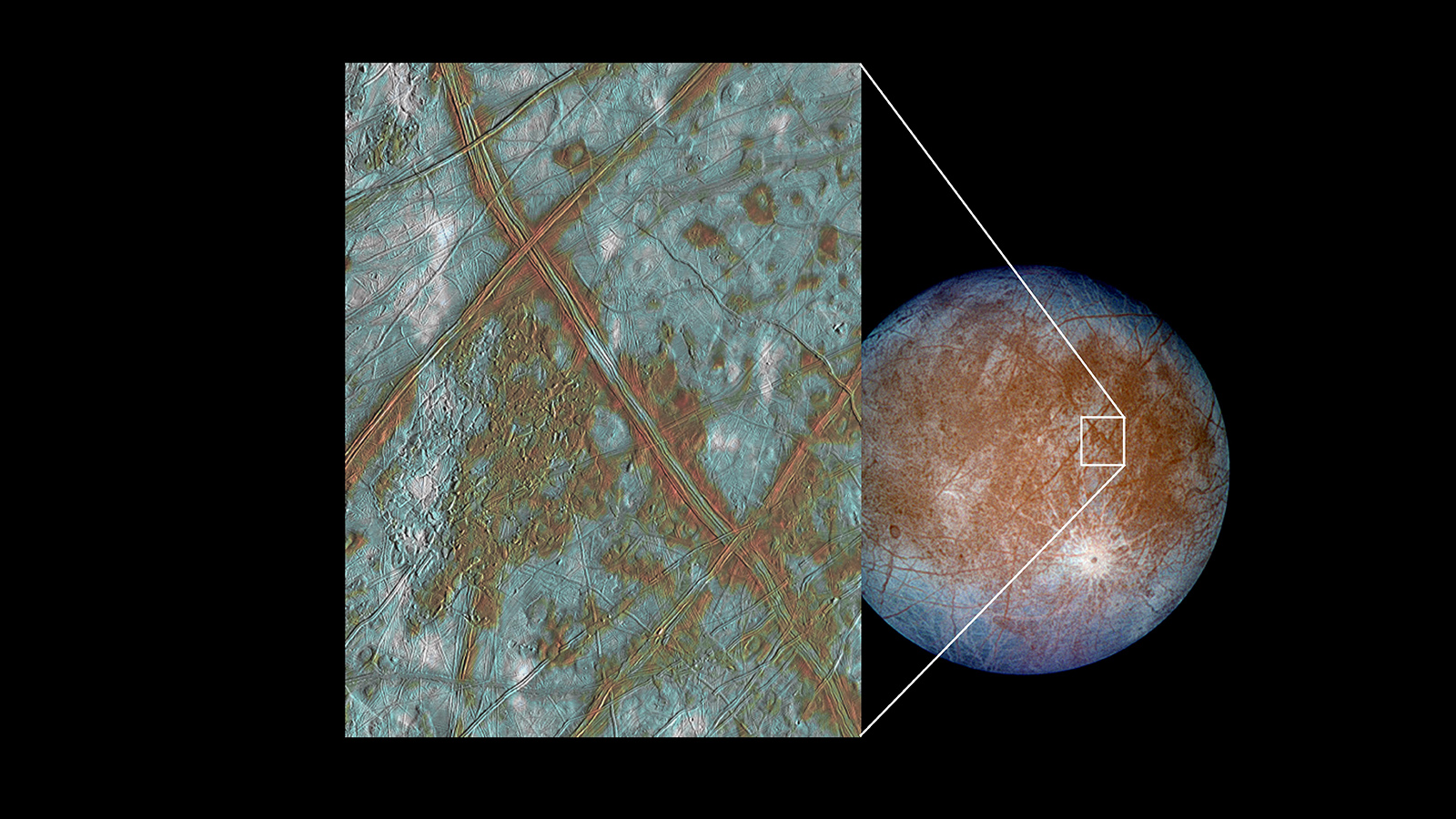 slide 3 - Color image focusing on squarish features of Europa's surface.