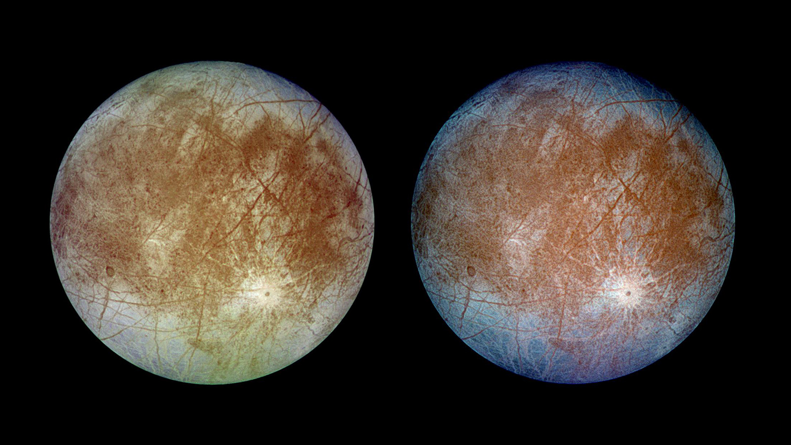 slide 6 - Twin color images of Europa. One shows more detail.