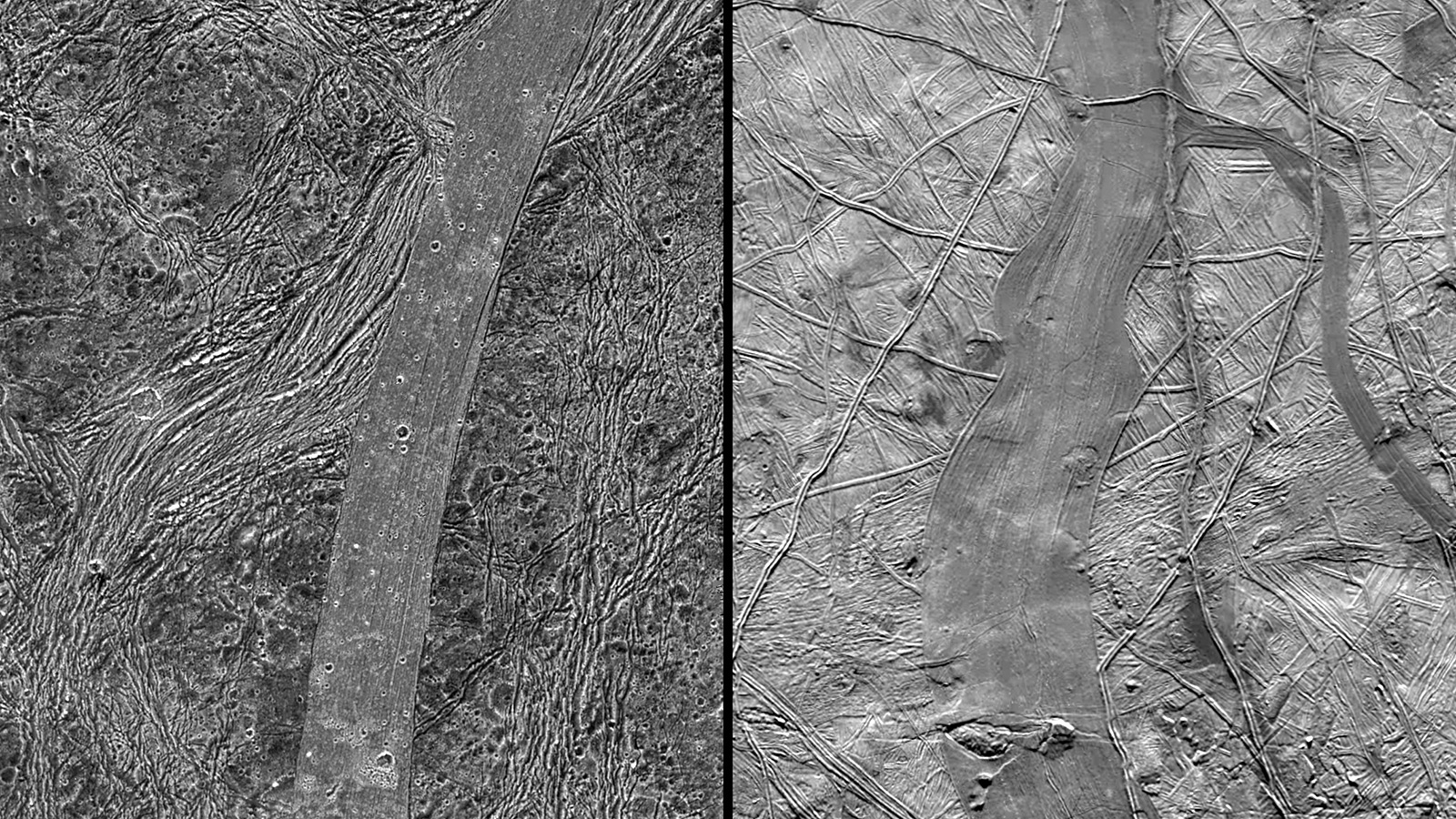 slide 1 - Icy bands and grooves on Europa