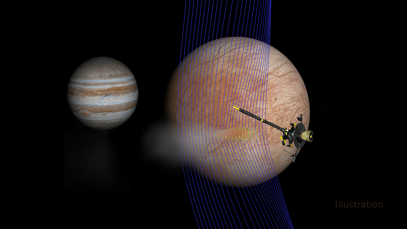 Artist's illustration of Jupiter and Europa (in the foreground) with the Galileo spacecraft.
