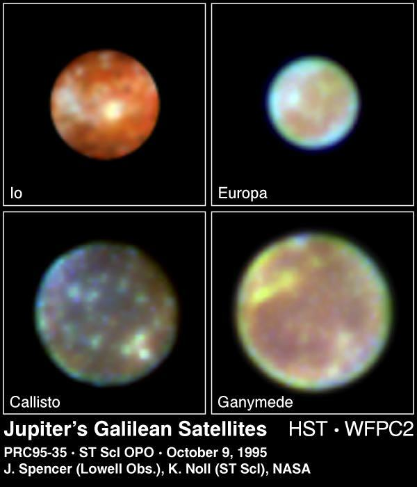 Fuzzy images of four moons.