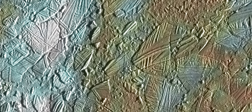 Crisscrossed lines of ice on Europa.