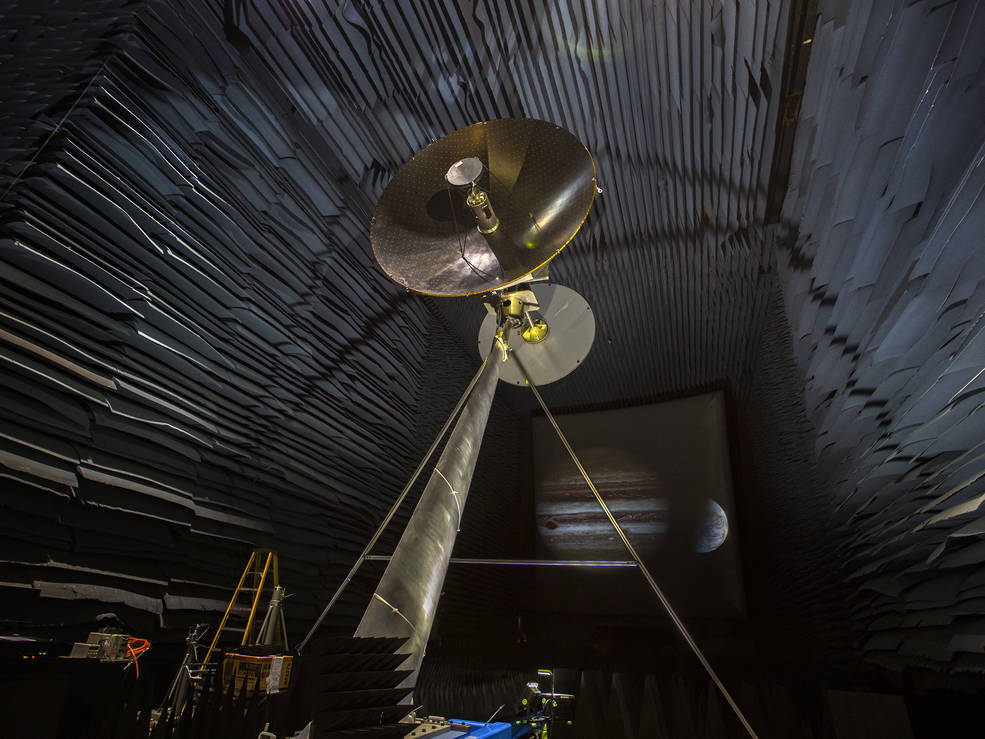 A full-scale prototype of the high-gain antenna on NASA's Europa Clipper spacecraft is undergoing testing in the Experimental Test Range at NASA's Langley Research Center in Hampton, Virginia. Credit: NASA/Langley