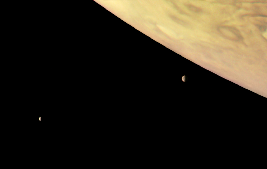 Jupiter and two of its largest moons, Io and Europa