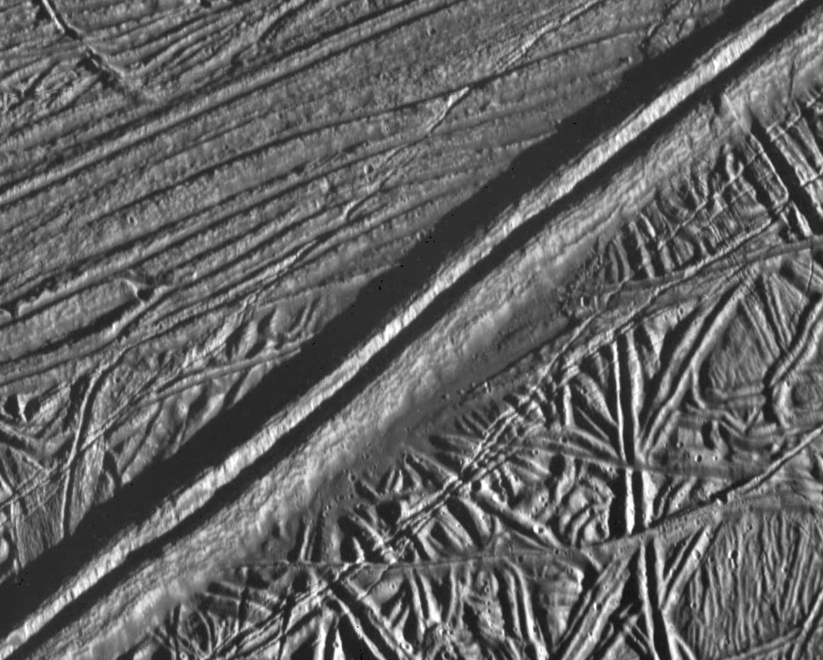 black and white view of ridges on an icy surface