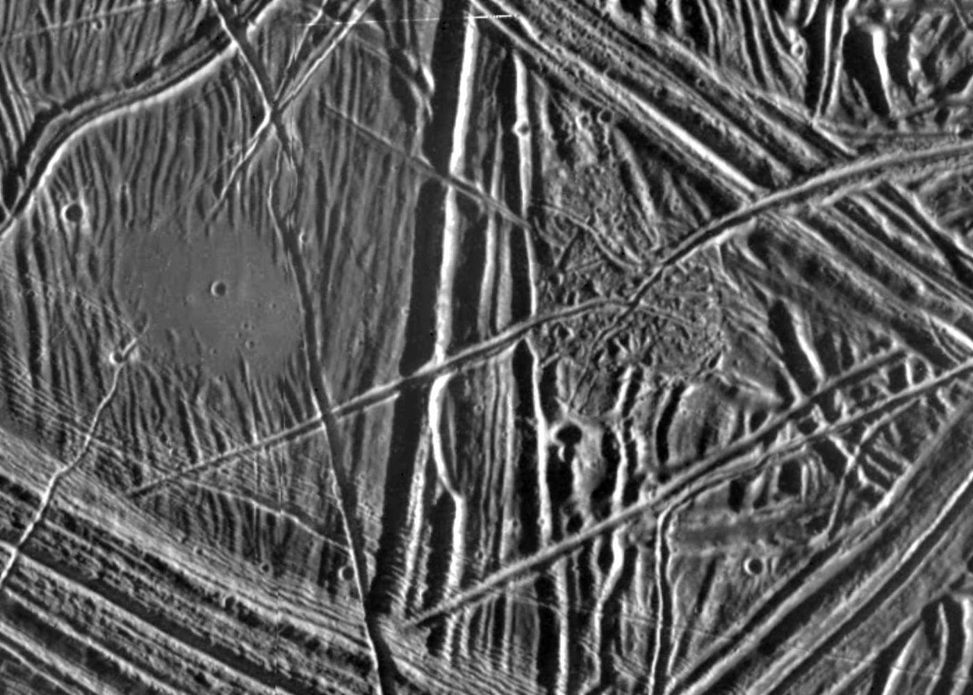 black and white view of terrain on an icy surface