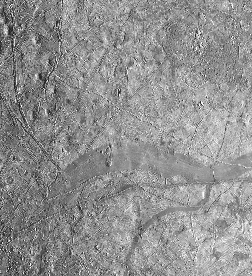 Ridges and smooth plains on Europa.