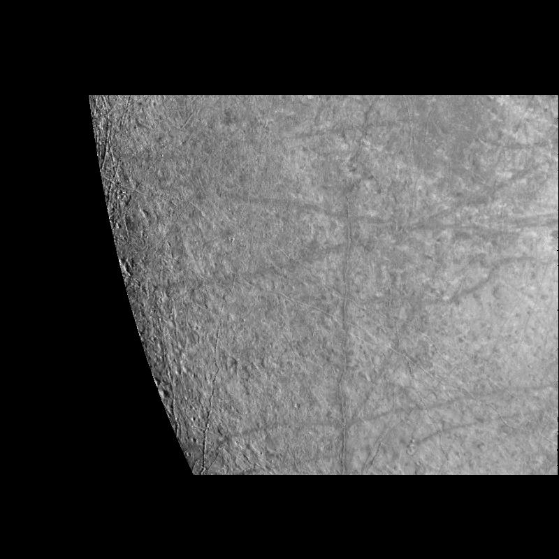 black and white partial view of moon with stripes on the surface