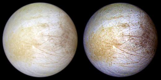 two color, full-disc views of europa with different colors