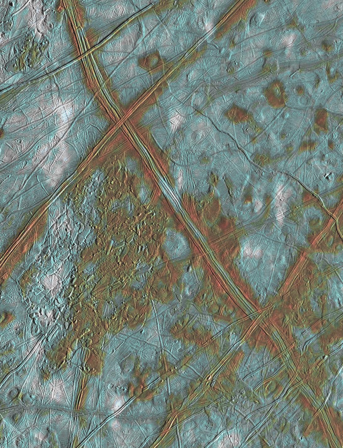 color view of complex terrain on an icy surface