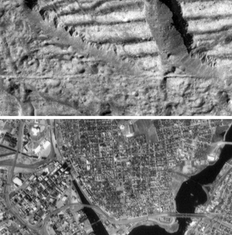 two black an white images, on showing icy terrain and another showing a city