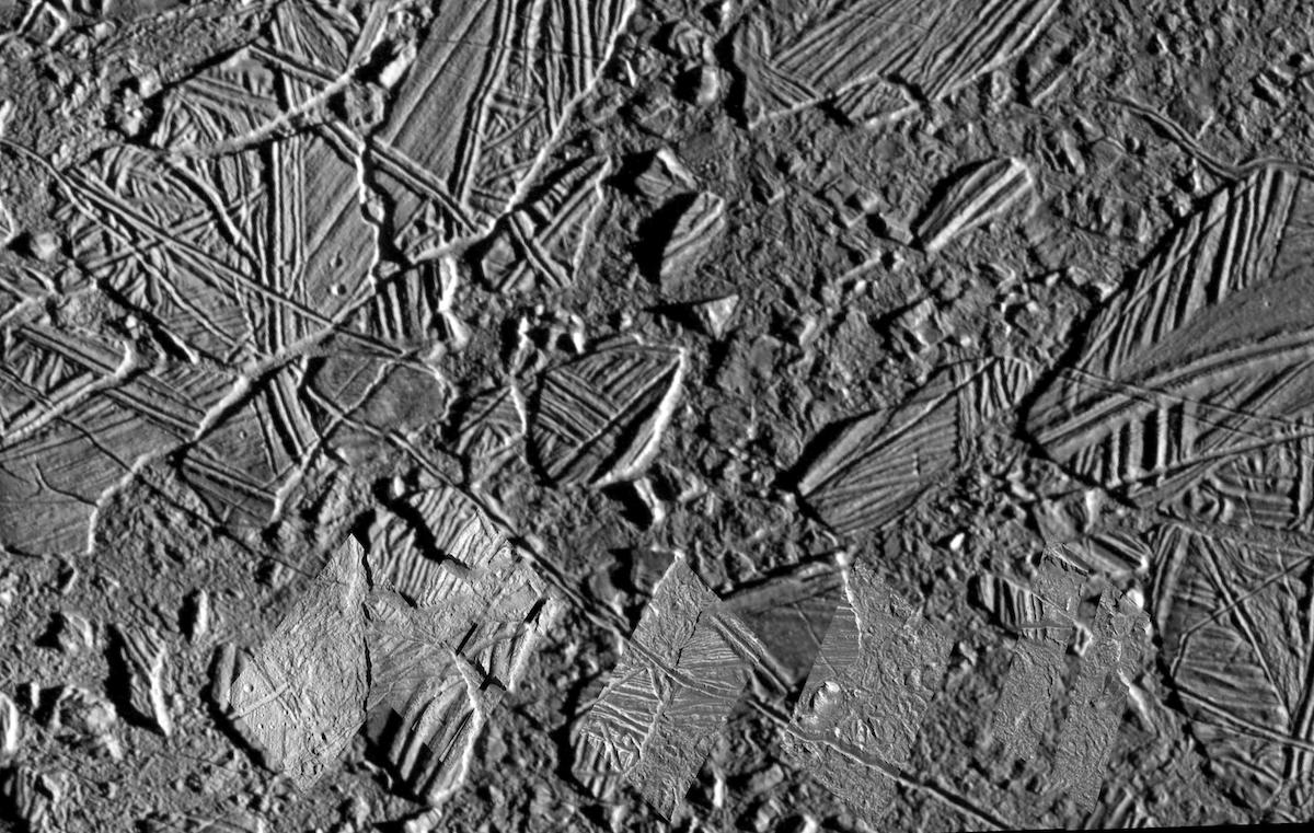 black and white view of jumbled icy terrain