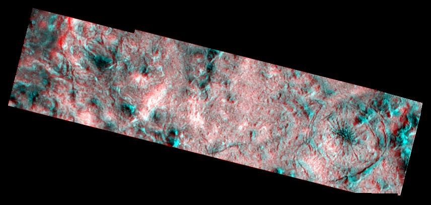 red-blue view of cratered surface
