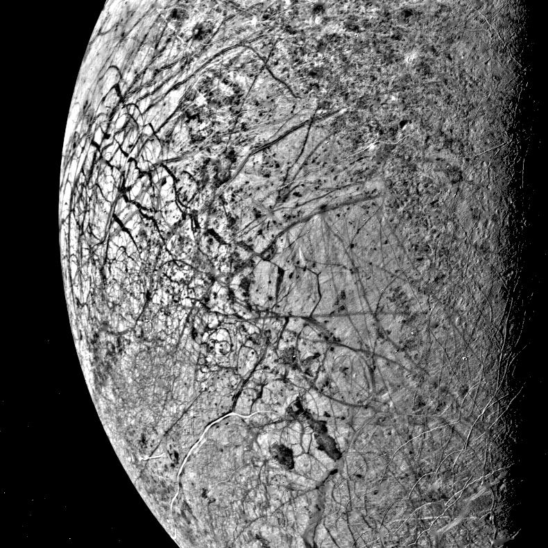 half-disc, black and white view of cracked icy surface