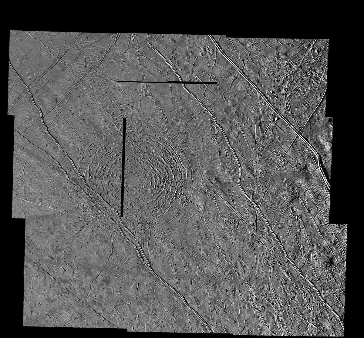black and white view of circular ridges on an icy surface