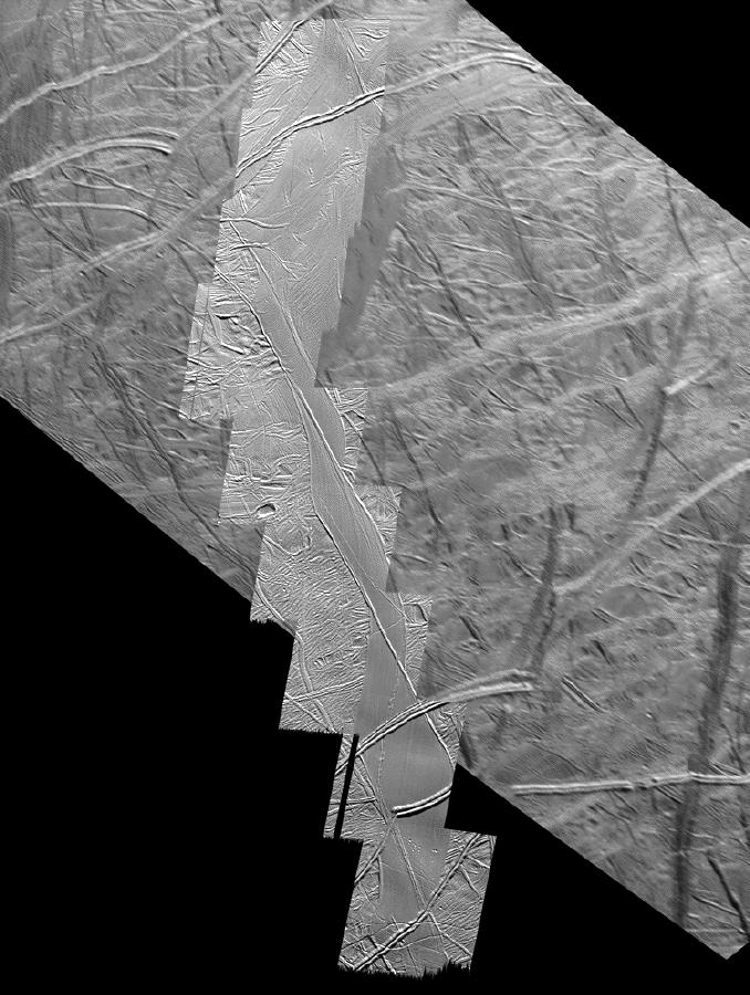 linear terrain features on an icy surface