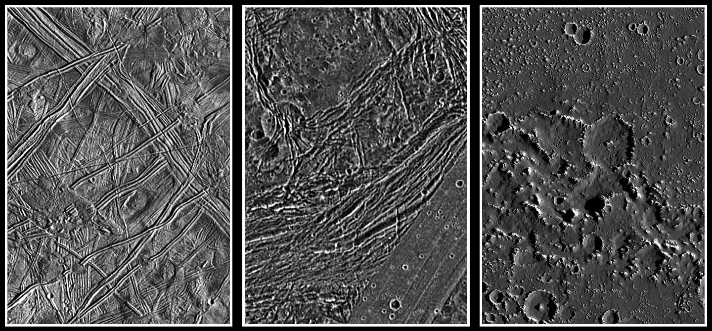 three black and white views of the rugged, icy surfaces of three moons