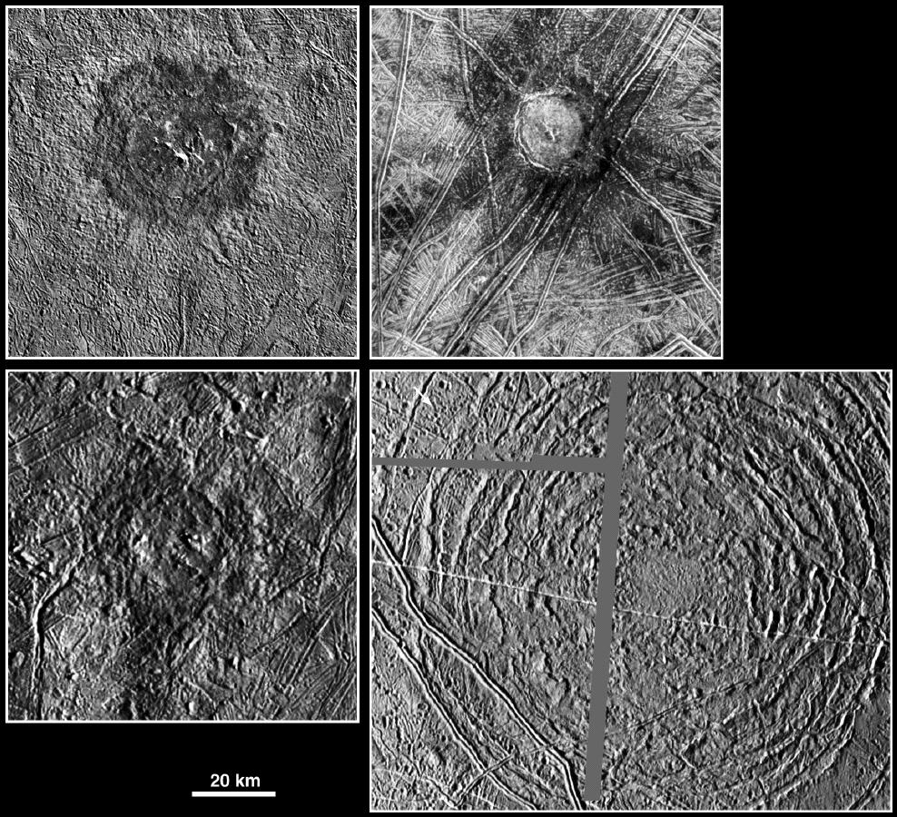 four black and white views of circular features on icy terrain
