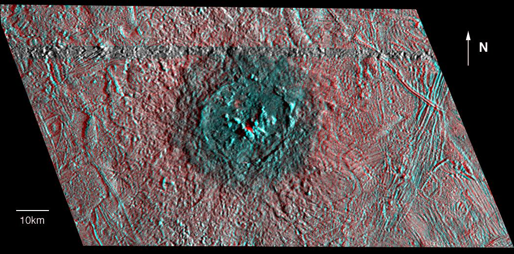 red-blue view of crater and surrounding terrain