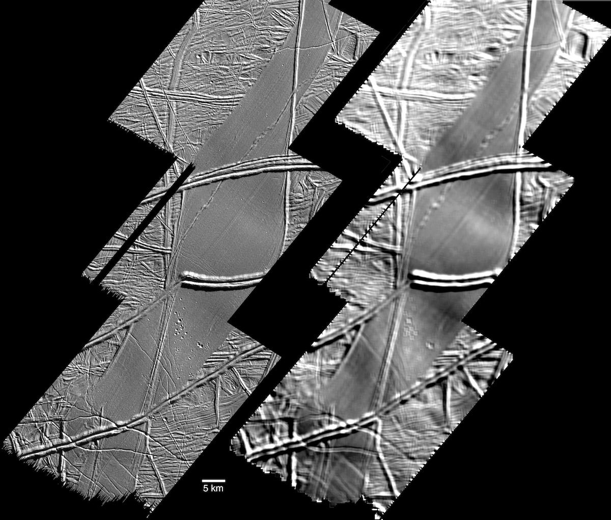 two black and white views of ridged surface under different lighting conditions