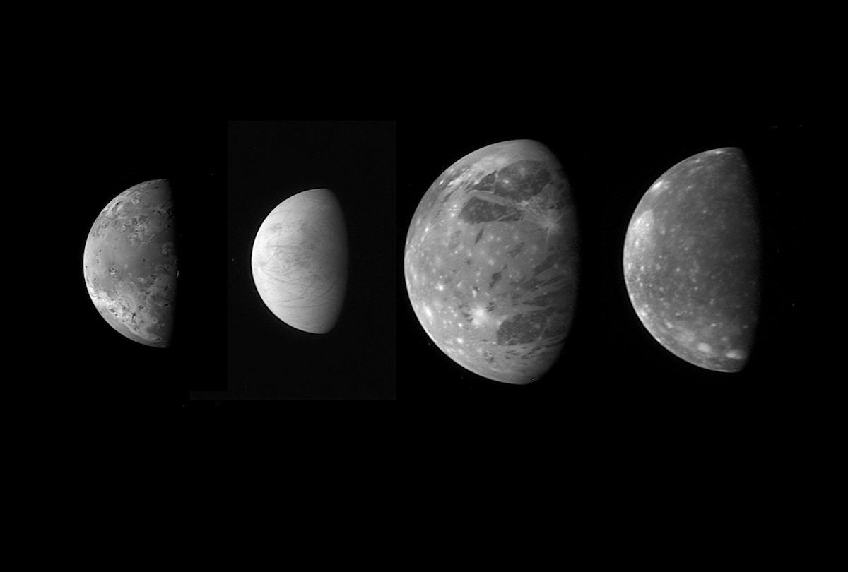 four black and white views of moons in gibbous phase