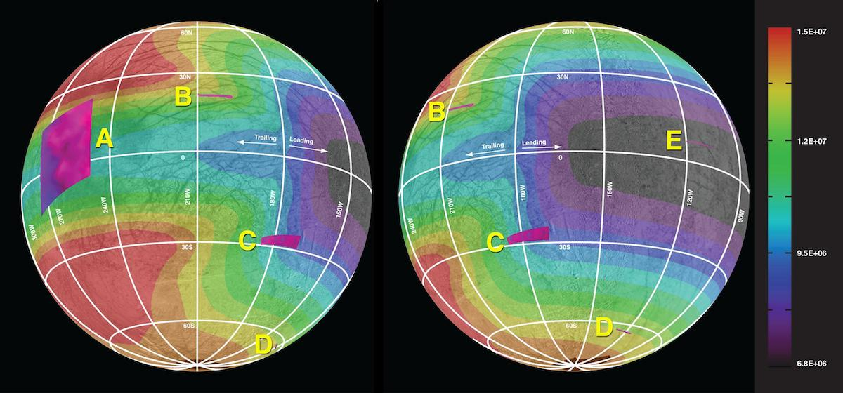 two global views of Europa with colors representing chemical components