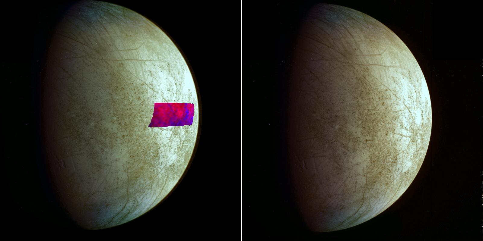 two color, global views of europa, one with a color region superimposed showing the chemical composition of surface features