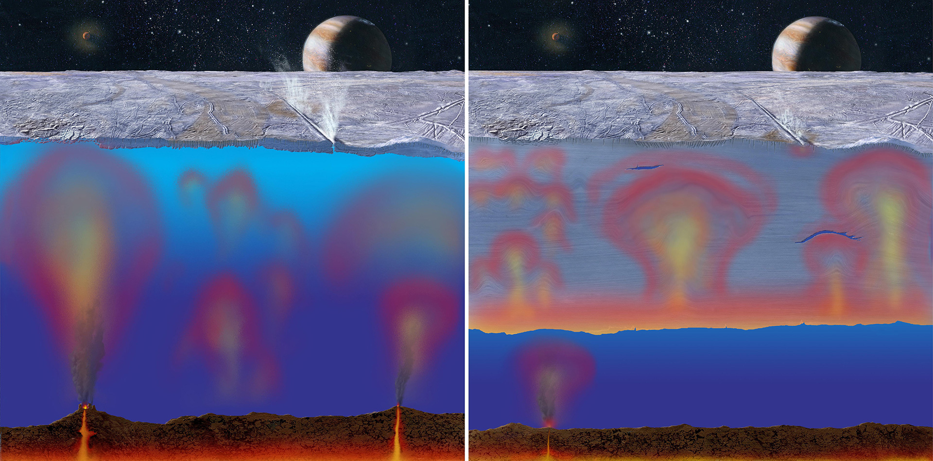 Illustration of possible ice depths on Europa.