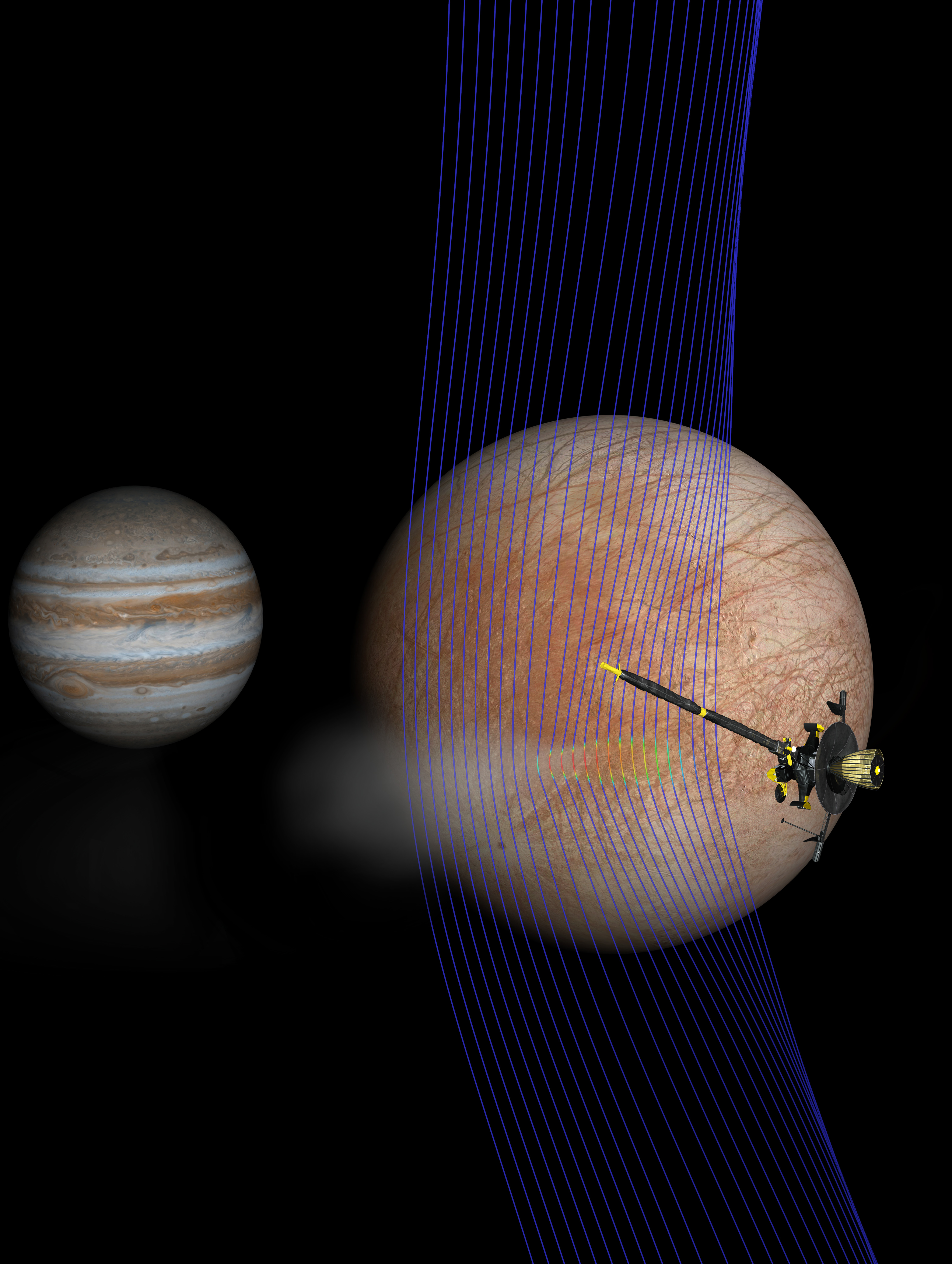Artist's illustration of Jupiter and Europa (in the foreground) with the Galileo .