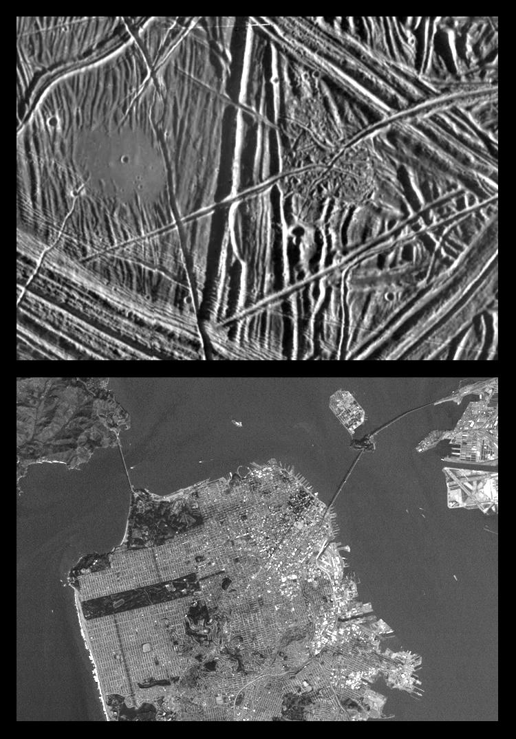 Series of images showing scale of Jupiter's moon Europa to the San Franscisco Bay Area.