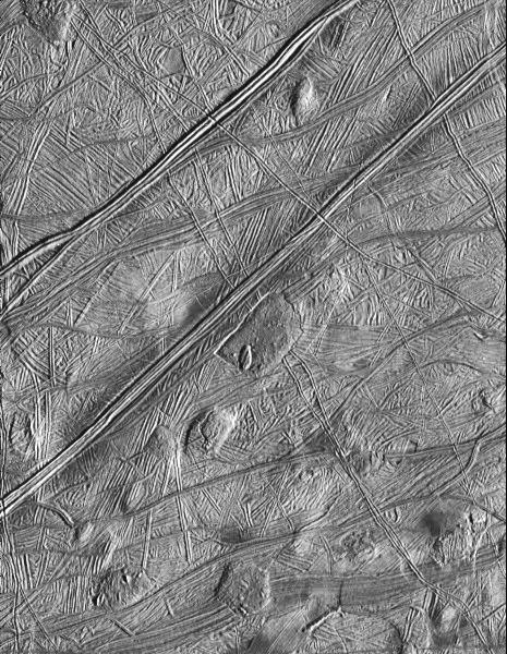 Rugged terrain on Europa.