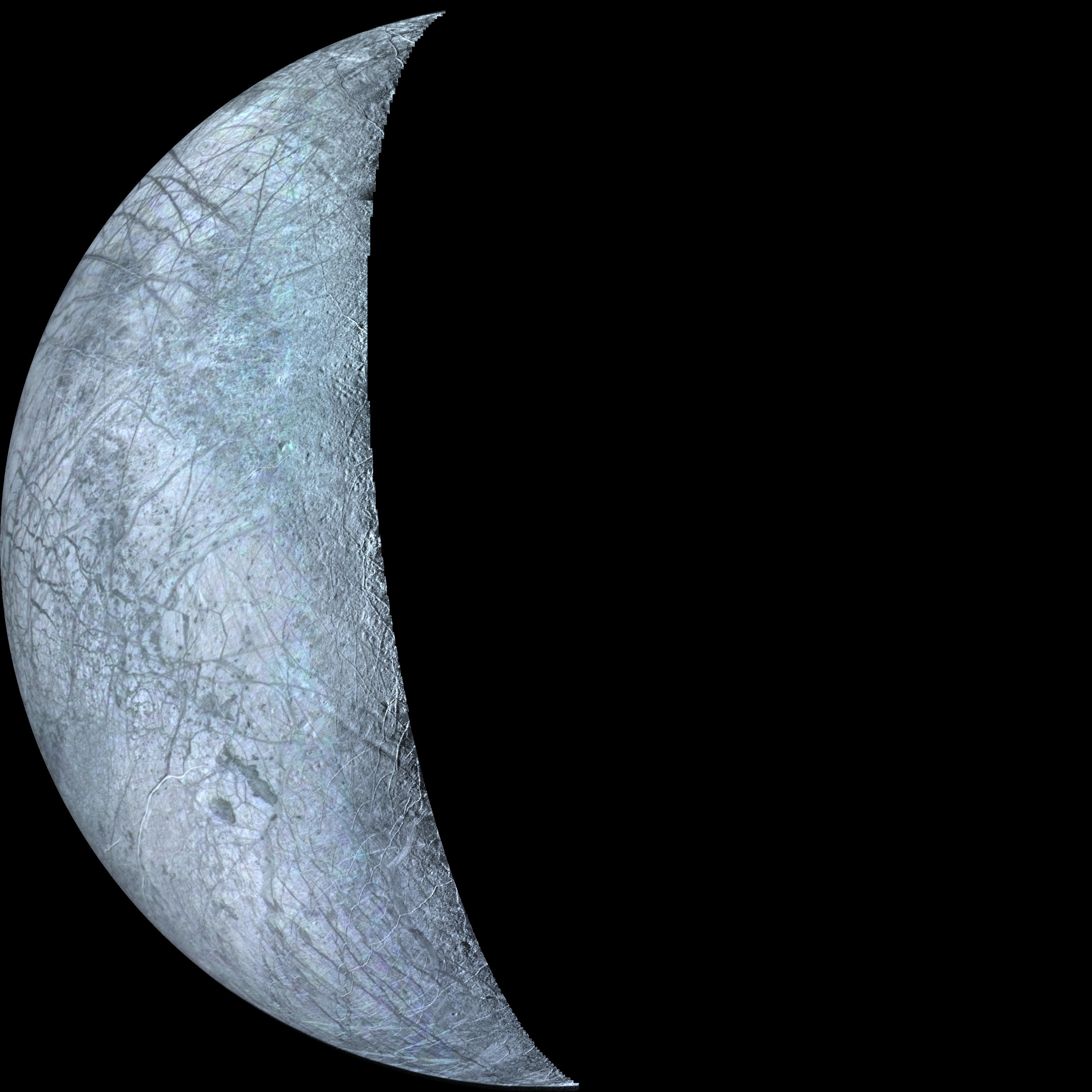 crescent view of Europa in color
