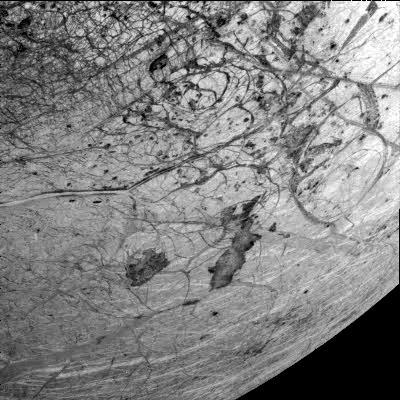 Chaotic, swirling terrain on Europa.