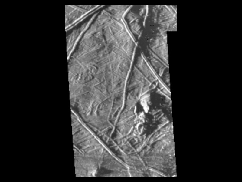 Shadowy hills on Europa